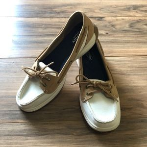 Sperry top-sider sz 9 white and tan shoes